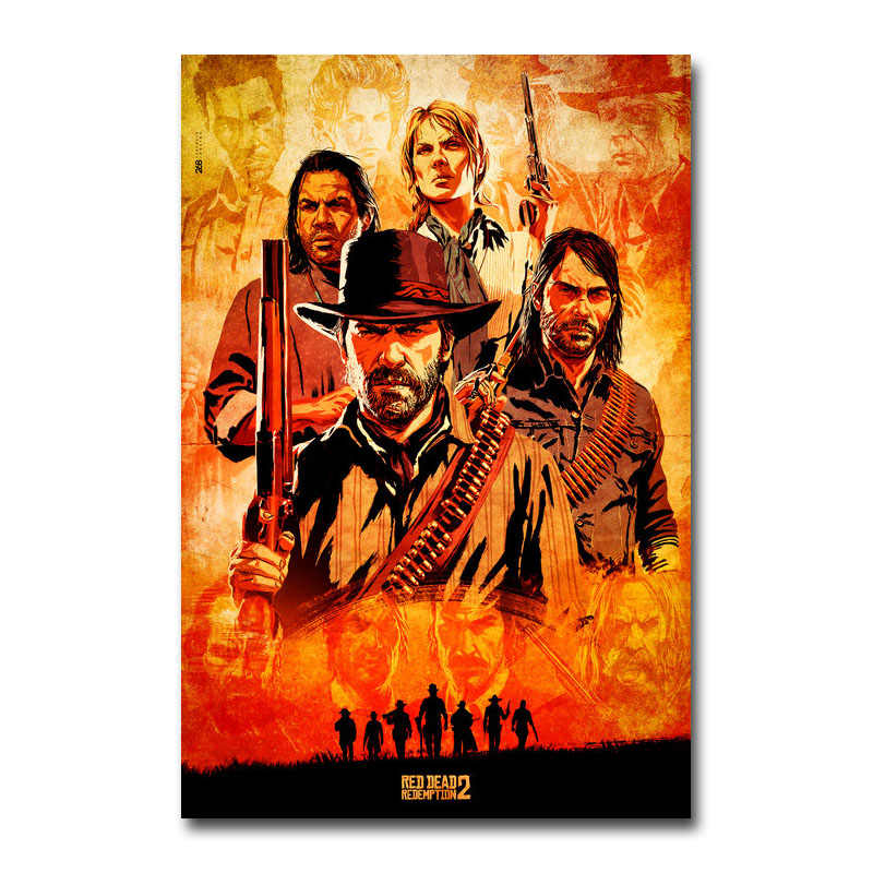 Red Dead Redemption 2 Game Canvas Poster Wall Art Print