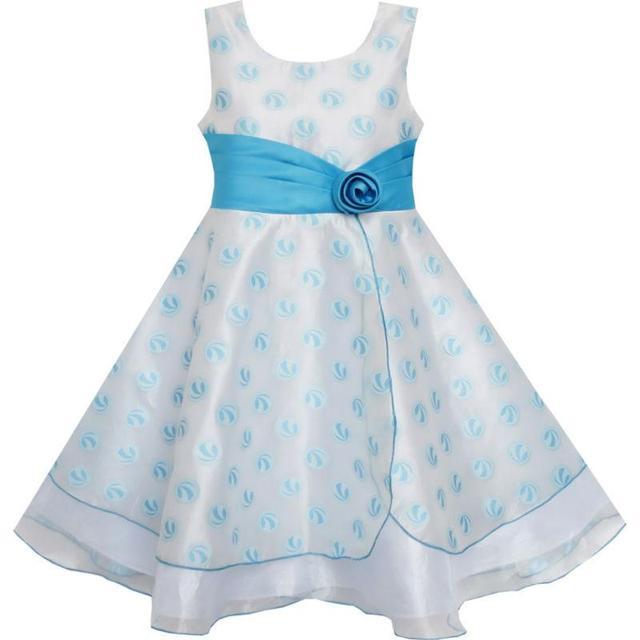 4d46e16f6e91e Sunny Fashion Robe Fille Mariage Robe Tulle Fleur Ballon Avec Dentelle Bleu
