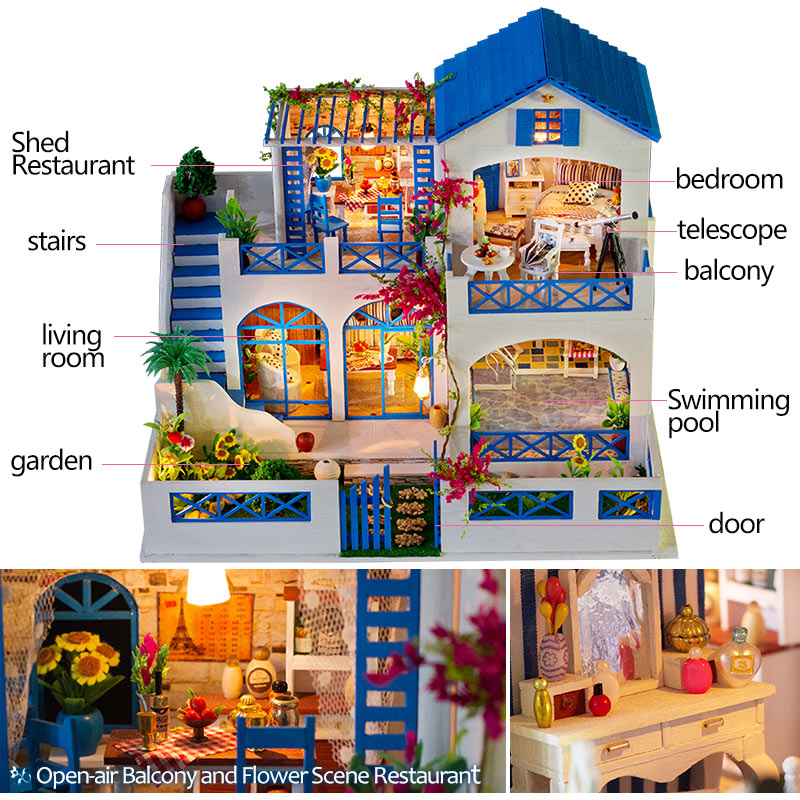فتاة الأثاث DIY مصغرة بيت الدمية 3D دمى خشبية منازل لغز لعب للأطفال مصغرة دمية الأثاث عدة-في منازل الدمى من الألعاب والهوايات على  مجموعة 2