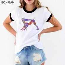 2019 summer tops women t shirt Vogue Couple Yo Ga pose watercolor print tee femme korean style clothes t-shirt female