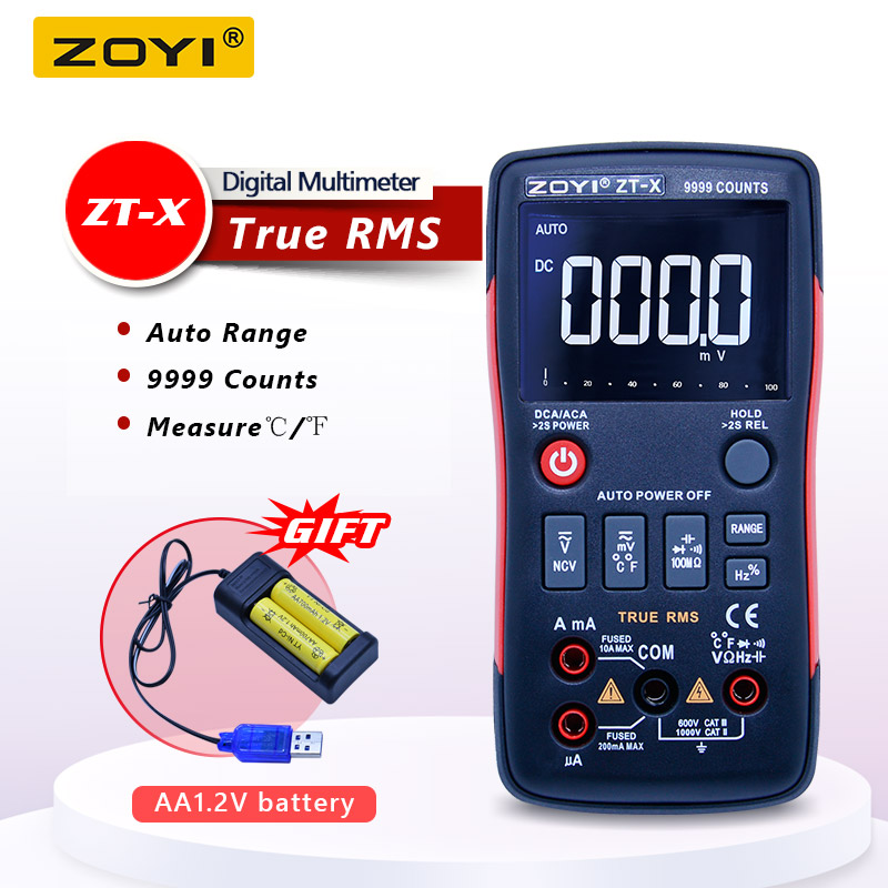 ZOYI True-RMS Digital Multimeter button 9999 counts with Analog bar graph NCV multi tester AC/DC Voltmeter Ammeter Auto/manual