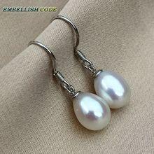 charmig klassisk enkel stake krok dangle örhängen naturlig odlad felfri fin pärla vit rosa svart färg glänsande för gåva
