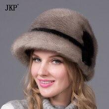 Donne cappello di pelliccia per l inverno vera pelliccia di visone cap 2018  Russia nuova moda high-end importati cappello di pel. b79b9d9a1d86