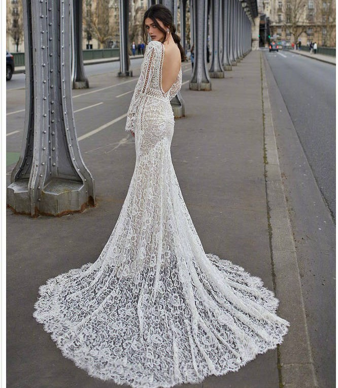 a5811b2461 robe de mariee 2019 Lace Long Sleeve Mermaid Wedding Dress Sexy Backless V  neck pearl Vintage Bohemia Wedding Gowns ~ Hot Deal July 2019