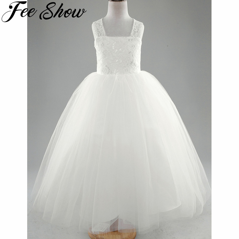 4-14Years Ivory Kids Girls Lace Floral Criss Cross Back Tulle Flower Dress Girl Kids High-end Evening Prom Dresses for Girls anex 3 в 1 cross ivory