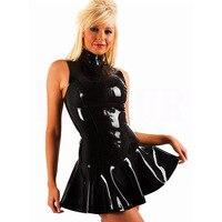 חלום גפן חדש סקסי שמלת מיני שחור במיוחד PVC בתוספת רוכסן על שפתוחה מראה הרטוב ויניל ללא שרוולים Bodycon נשים שמלת לטקס גלימה