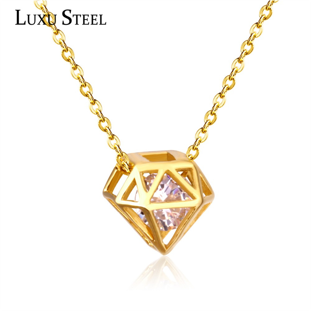 Style 123319 Diamontrigue Jewelry: LUXUSTEEL Fashion Style Gold/Silver Geometry Triangle