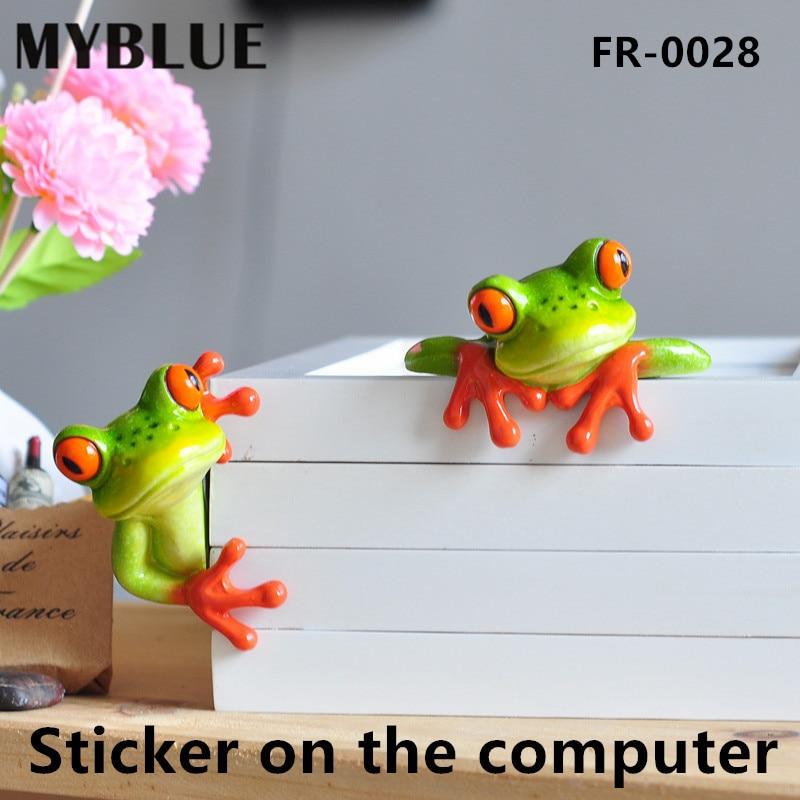 MYBLUE 2 buc / set Kawaii artificiale broaște animale Sticker - Decoratiune interioara