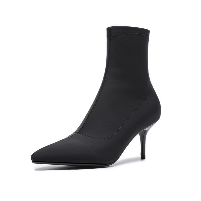 Baile Dedo negro Altos Zapatos Smirnova Fino Green Interior 2018 Del Punta Señoras Tacones Sexy Mujeres Pie Mujer Moda Otoño Cuero Botines xYBwZSq