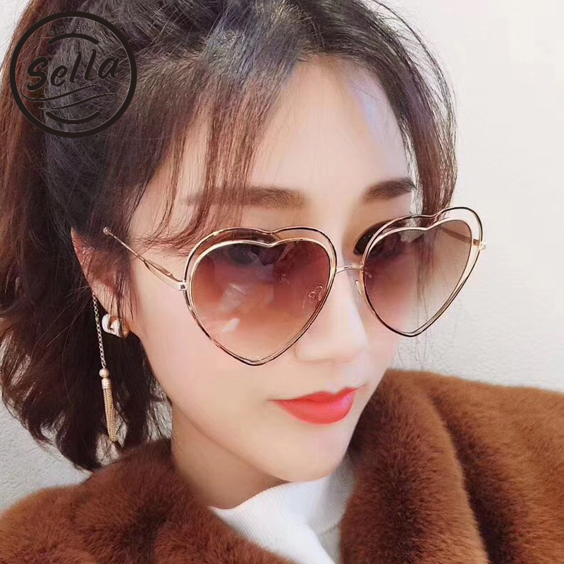 2018 Sella New Fashion Women Hollow-Out Alloy Frame Gradient Lens Sunglasses Trending Sexy Ladies Heart Shape Harajuku Sun Glass