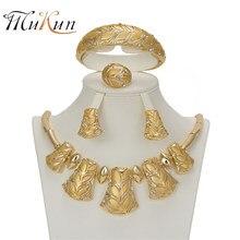 4c2b260580b9 MUKUN oro Color joyería Set para mujeres Boda nupcial hojas collar  pendientes joyería africana de cuentas de Dubai partido Acces.