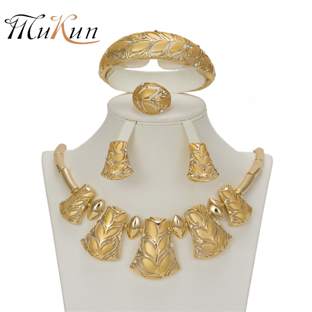 MUKUN Gold Color Jewelry Set For Women Wedding Bridal Leaves Necklace Earrings Jewellery Dubai African Beads Party Accessories