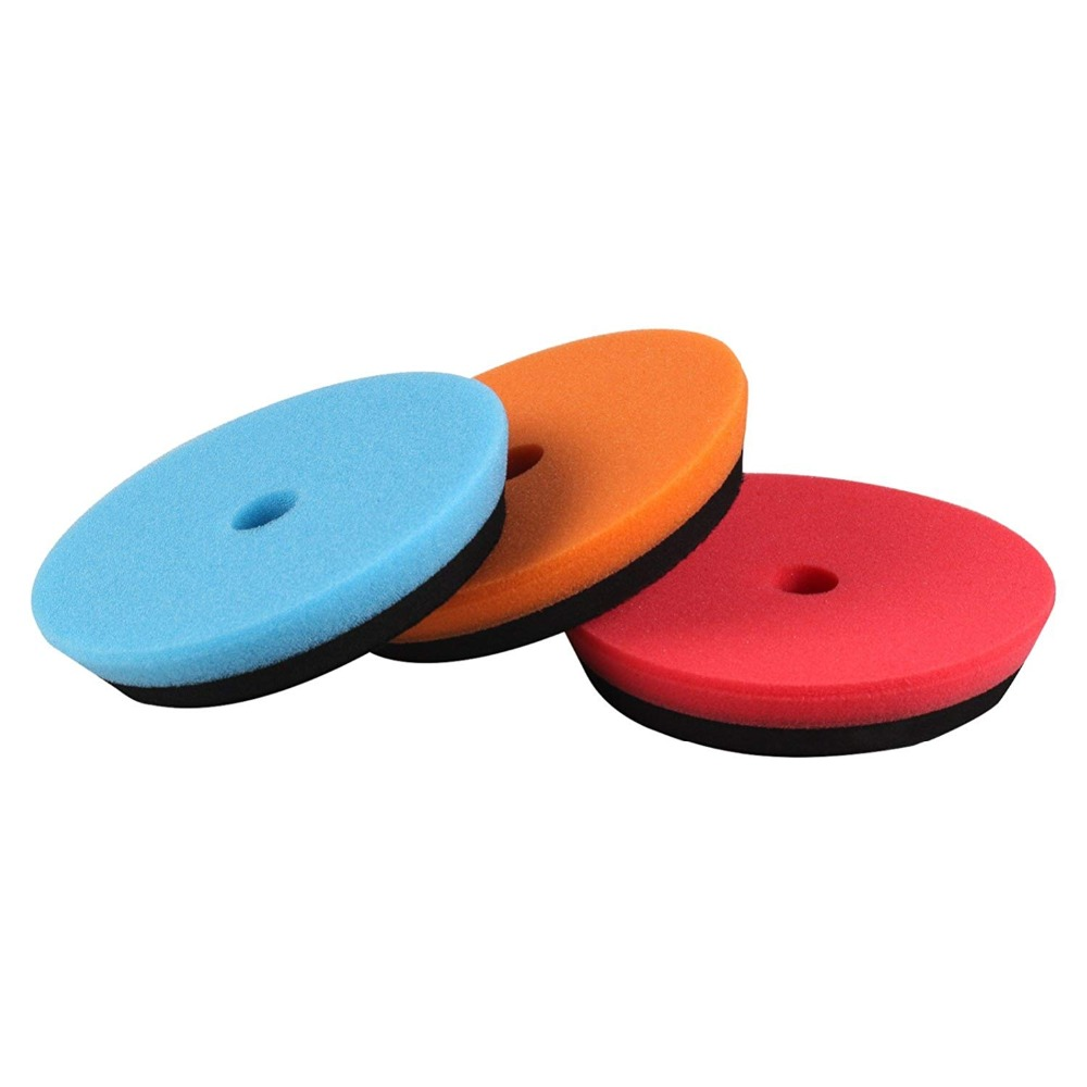 SPTA 3Pcs 6inch (150mm) HD DA Polishing Buffer Pad Buffing Pads For 5inch (125mm) RO/DA Rupes Random Orbital Car Polisher spta red
