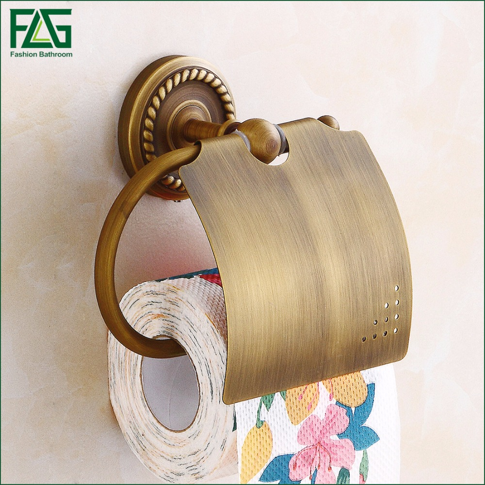 FLG Antique Bronze Finishing Paper Holder Roll Holder Tissue Holder Brass Construction Bathroom Accessories High Quality 80106 factory direct sale high quality bronze finish bathroom paper box bathroom accessories bathroom storage holder