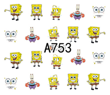 Nail Art Sticker Water Decals Cartoon SpongeBob Design Decoration Manicure Nails Slider Stickers Foil Wraps Pegatinas Polishing