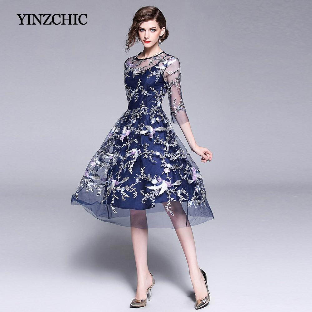 Qualité supérieure Femme robe de broderie Solide Bleu Femmes robes en maille D'été Dames Partie Mi Robe style étoile Robes Pas Cher Prix