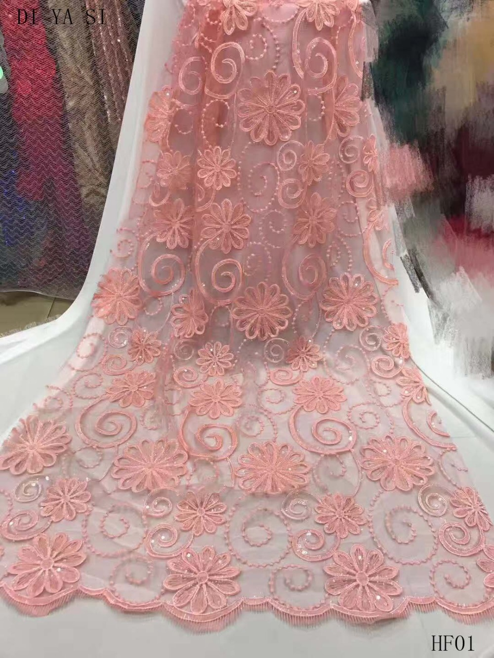Nigerian Lace Fabric 2018 High Quality Lace Pink Silver Sequin Fabric For Sewing Dress Tulle Lace Fabric HF01
