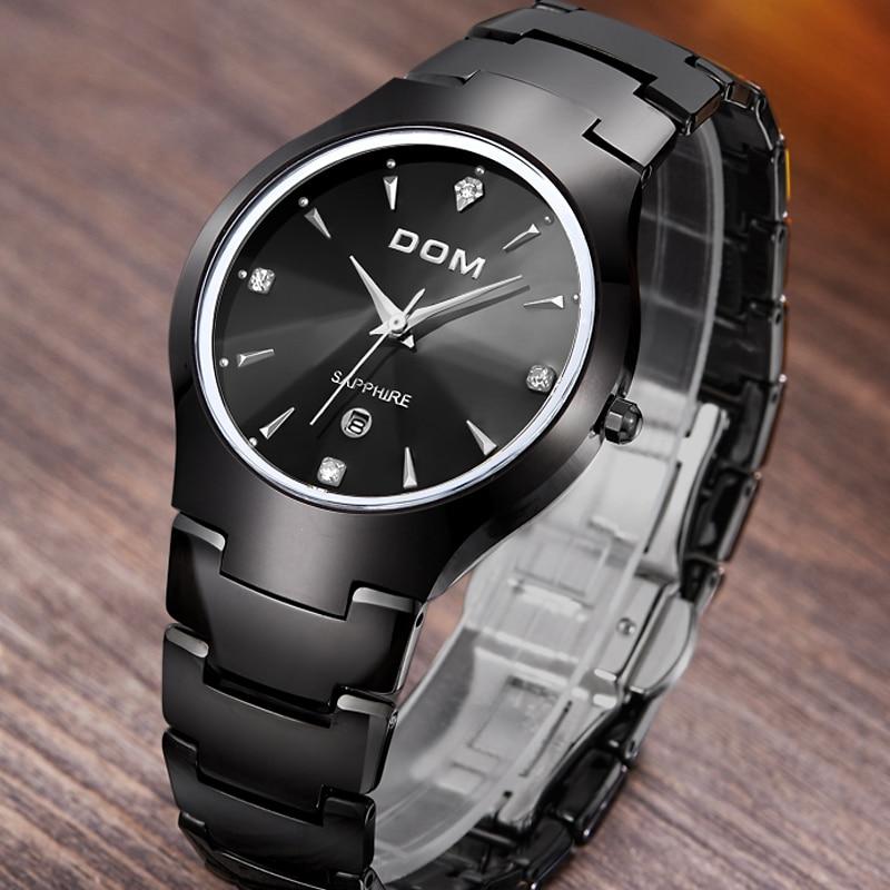 2017 DOM sapphire crystal scratch wear casual water resistant Watches Men luxury full tungsten steel watch