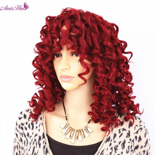 아미르 헤어 짧은 가발 합성 변태 곱슬 머리 가발 중간 레드 블랙과 금발 색상 여성용 가발 내열성