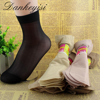 Crystal Short Socks Female Elastic Nylon Socks & Hosiery
