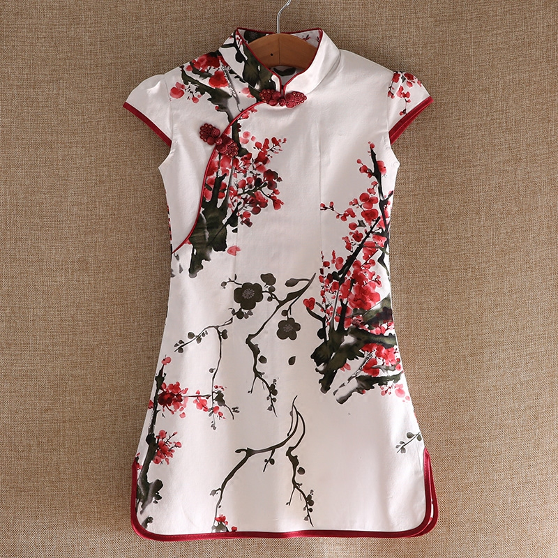 2017 autumn chinese traditional dress vintage floral pattern girls dresses cheongsam wedding party costume children clothing cheongsam floral pattern bodycon dress