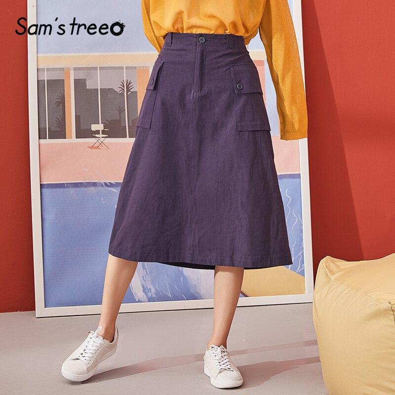 Samstree Blue Solid A Line Minimalist Style Skirts Women 2019 Autumn Pure Elastic Waist Casual Office Ladies Midi Skirt