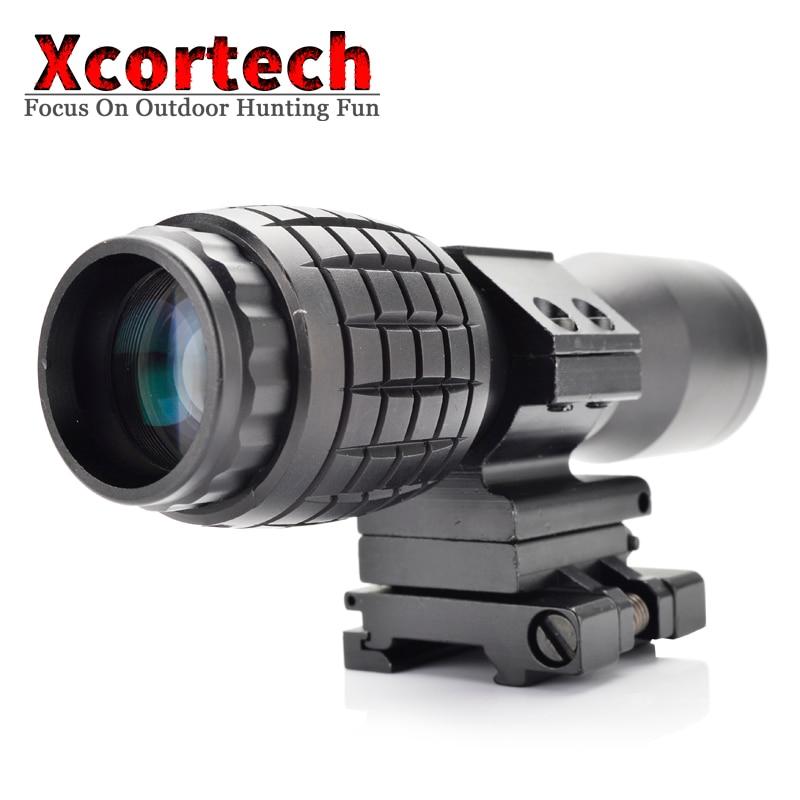 Focus grossissant tactique Airsoft 4X ajusté avec portée de montage rabattable pour portée de visée holographique 551 552