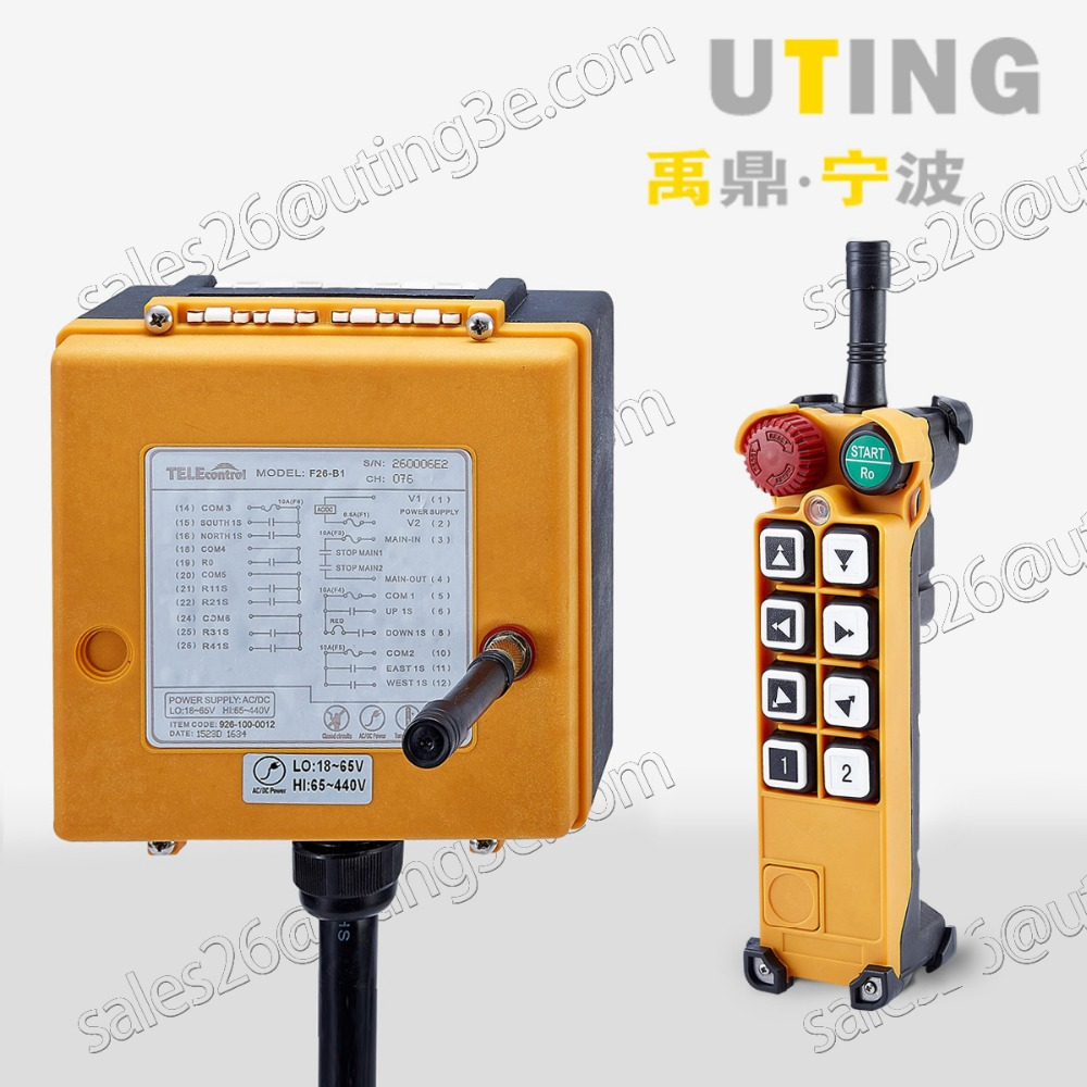 Telecontrol F26 A3 industrial radio remote control AC DC universal wireless control for crane 1transmitter and
