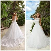 Vestido de noiva bridal dress winter weding party appliques white & Ivory Bridal dress open V back Wedding dresses long train