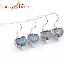 ФОТО luckyshine 2 pcs/ lot women heart-shaped rainbow zircon silver holiday dangle earrings russia usa australia  earrings