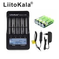 LiitoKala lii-500 LCD 3.7V 18650 21700 Carregador de bateria + NCR18650B 4pcs 3.7V 18650 3400mAh li-ion Recarregável baterias