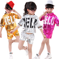 (10 set)June 10 children's costumes new jazz dance girl bright skin show suit modern dance children's children