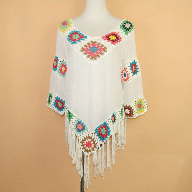 Aproms Elegant 2017 White Lace Crochet Chiffon Boho v neck Loose ...