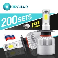 400 Pieces Free Gift Car Light H7 LED H4 Headlight 36W/Bulb COB 16000LM 6500K Hi lo Beam 12V 24V Led Auto Lamp Car Acessories