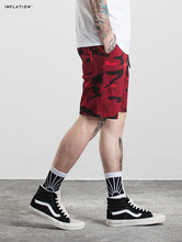 INFLATION 2017 Men's Hightstreet Casual Shorts Bamboo Cotton Men Summer Shorts Red Camouflage Hip Hop Shorts