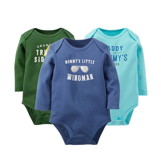 3PCS/LOT Newborn Girl Boy Baby Clothes High Quality Cute 100%Cotton Long Sleeve Baby Rompers Roupas de bebe Infantil Costumes