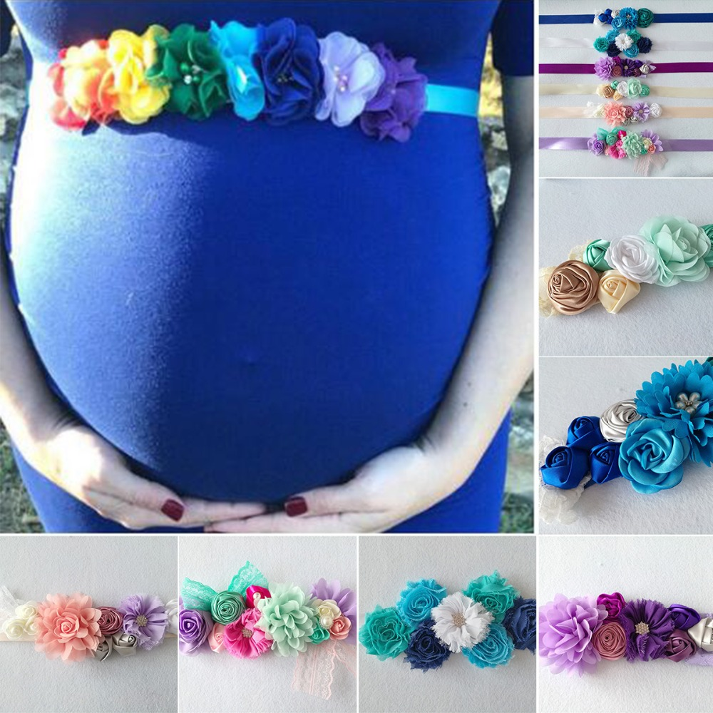Puseky Maternity Sash for Photo Shooting Floral Maternity Photography Dress Waistband Girdle Maternity Photography Props d&j lace maternity photography jumpsuits off the shoulder floral ruffles maternity bodysuits close fitting maternity playsuit