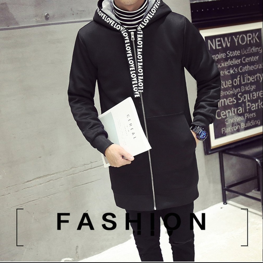 Casual mens   trench   winter autumn male thicken long hoody jackets chaqueta de invierno for men coat hip hop streetwear clothing