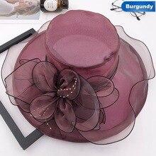 Новые трендовые летние шляпы для женщин из органзы с цветочным принтом, Свадебные шляпы для Федоров, торжественные шляпы с широкими полями, пляжные шляпы для церкви