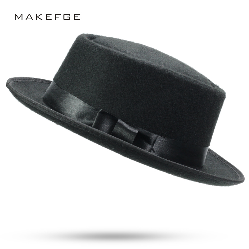 32cd9bc92ce Original Unisex Structured Wool Fedora caps for men fedora felt head bow tie  Pure fedoras New Style Aristocratic hats winter