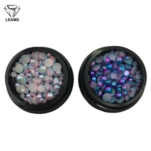 LEAMX 3MM/4MM/5MM Mix Size/Box ABS Imitation Pearls Half Round Flatback Beads Nail Art DIY Decoration Makeup Tools 3D Beads L417