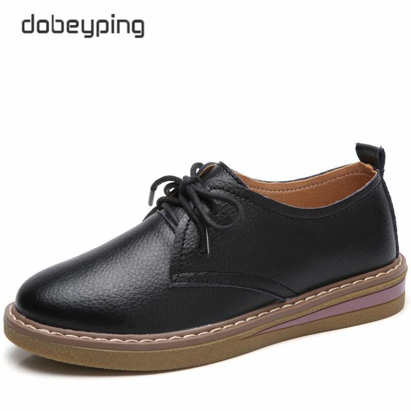 5eb352a27253e Dobeyping 2017 Automne Femmes Bateau Chaussures En Cuir Véritable Femmes  Chaussures à Lacets Femme Appartements Chaussures