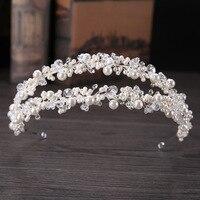 2017 New Arrival Vintage Handmade 2 Rows Silver Crystals Pearls Wedding Tiara Headband Bridal Hair Accessories