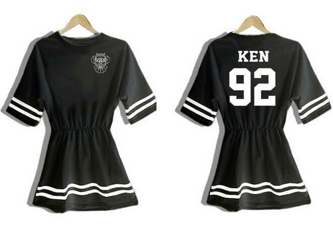 Été de mode kpop vixx membre nom impression robes pour femmes à manches courtes o cou taille haute mini robes