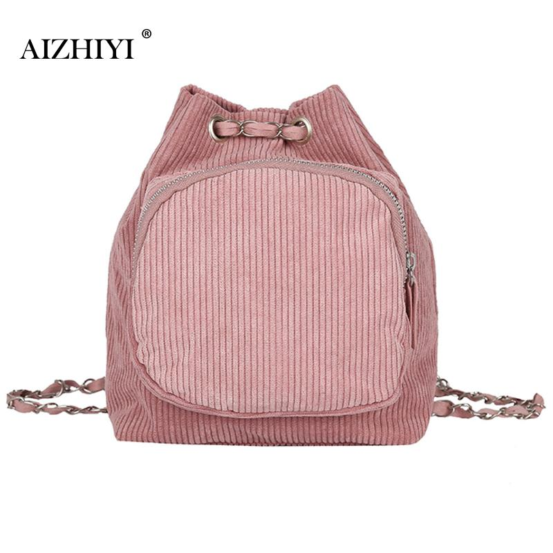 Women Mini Corduroy Soft Chest Pack Small Backpack School Shoulder Bags For Teenagers Chain Backpacks For Girls 4 Colors