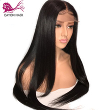 Wigs Human-Hair Silk Base EAYON Straight Full-Lace Preplucked Brazilian with 130%Density