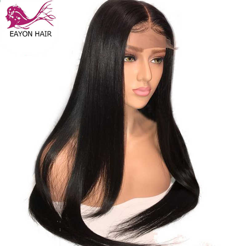 EAYON Silky Straight 5x4.5 Zijde Basis Full Lace Pruiken Menselijk Haar Met Baby Haar Preplucked Braziliaanse Remy Haar 130% Dichtheid