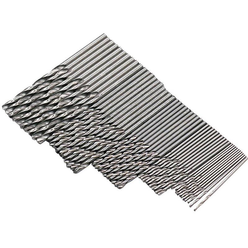 50Pcs HSS High Speed Steel Drill Bits Set Tool 1/1.5/2/2.5/3mm Titanium Coated Twist Drill Bit High Quality Power Tools