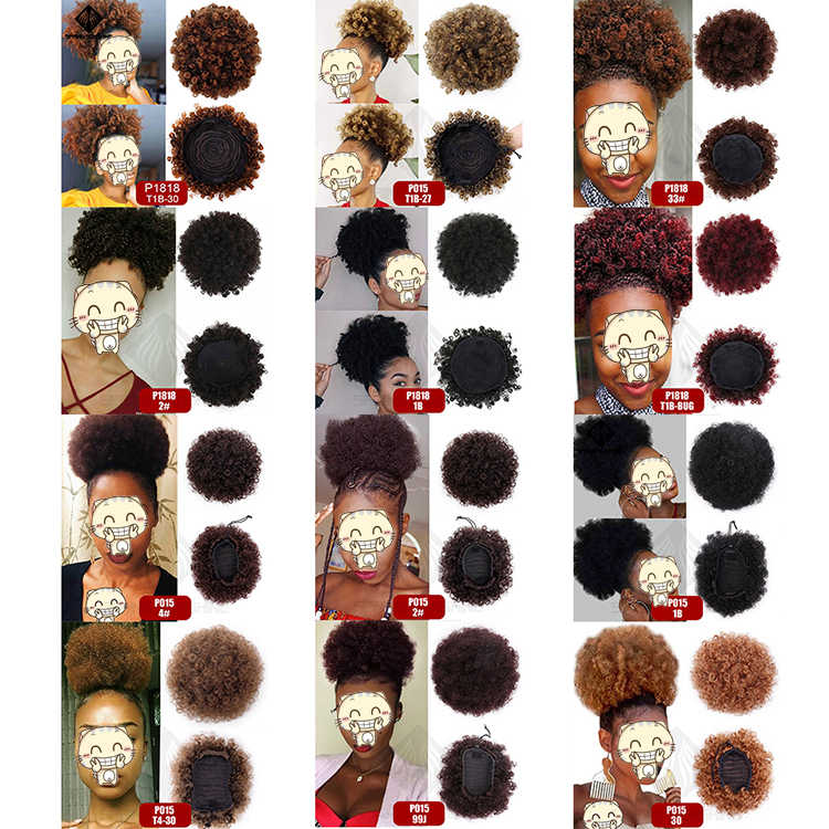 Primavera sol sintético Puff Afro corto rizado Chignon cabello moño cordón Cola de Caballo envoltura extensiones de cabello falso