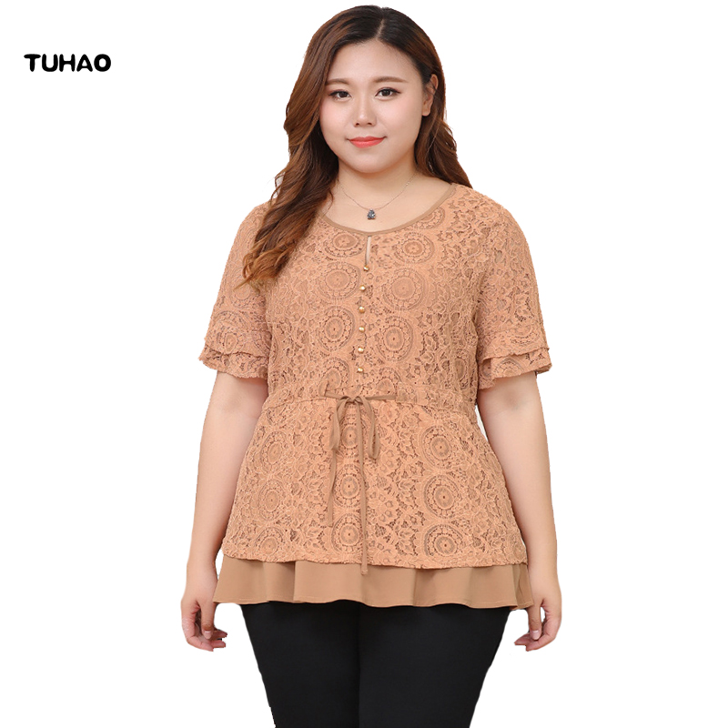 TUHAO 2018 Summer Elegant Lace Hollow Out Blouse Ruffled Sleeve Shirt Office Lady Tops Plus Size 10XL 8XL 6XL 4XL Blouses MS82